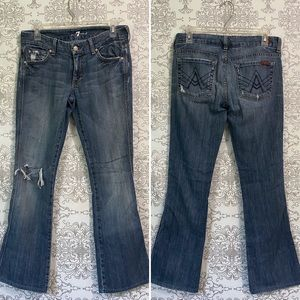 7FAM A pocket bootcut distressed jeans size 27